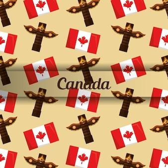 Fundo canadense totem e bandeira insígnia