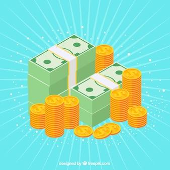 Fundo celeste com pilhas de notas e moedas