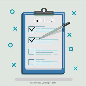 Fundo checklist no design plano