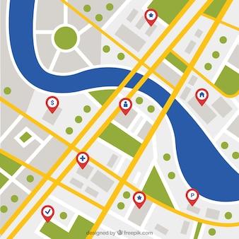 Fundo, cidade, mapa, rio