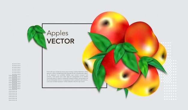 Fundo cinza com maçãs em um quadro