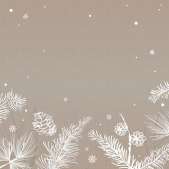 Fundo cinza com vetor de decoração de inverno