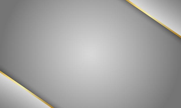 Fundo cinza metálico com linha cinza metálico e ouro brilhante tecnologia moderna
