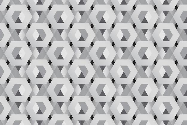Fundo cinza padrão 3d hexagonal