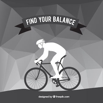 Fundo cinza poligonal com ciclista