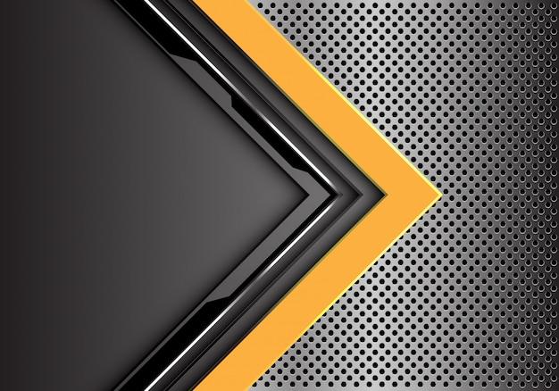Fundo cinzento amarelo da malha do círculo do metal do sentido da seta do circuito.