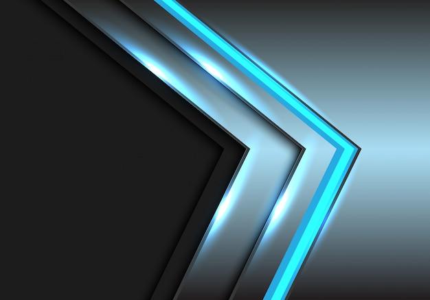 Fundo cinzento do espaço vazio da tecnologia azul da seta da luz do metal.