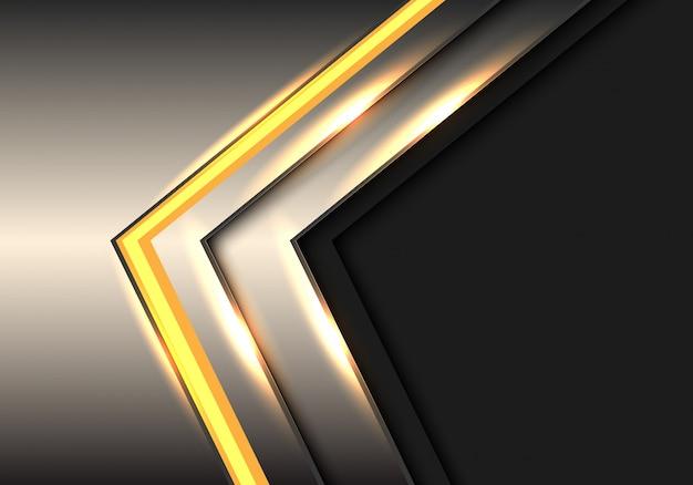 Fundo cinzento do espaço vazio da tecnologia da seta da luz do metal amarelo.