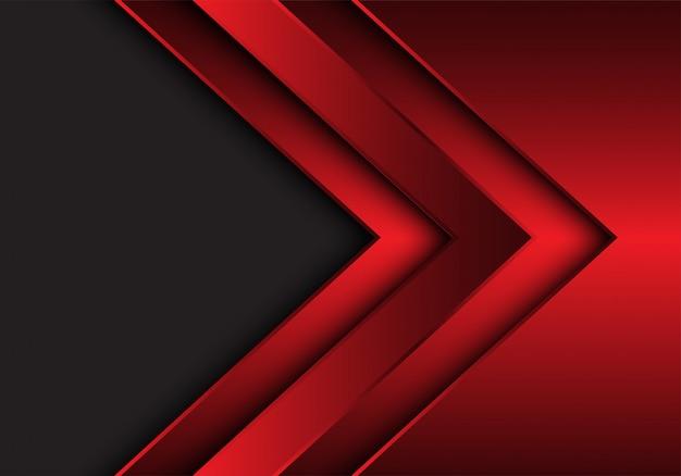 Fundo cinzento do espaço vazio do sentido metálico vermelho da seta.
