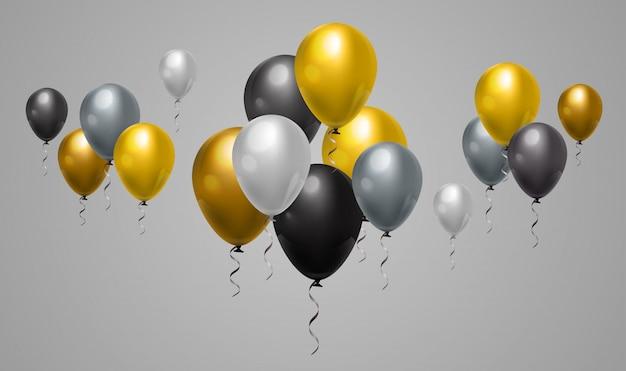 Fundo cinzento e preto amarelo dos balões para eventos da decoração e do feriado da web