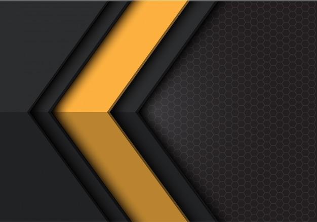 Fundo cinzento escuro amarelo da malha do hexágono do sentido da seta.