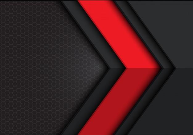 Fundo cinzento escuro vermelho do hexágono de sentido da seta.