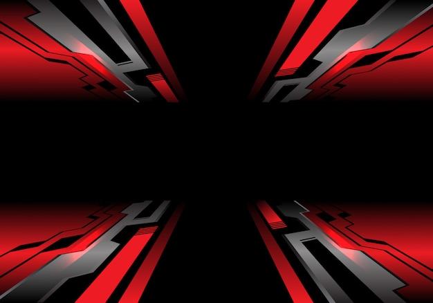 Fundo cinzento vermelho da tecnologia do preto do zumbido do circuito.