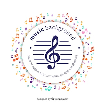 Fundo circular da etiqueta com notas musicais coloridas