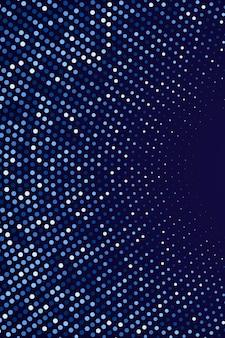 Fundo circular de meio-tom abstrato padrão de pontos azuis em fundo escuro