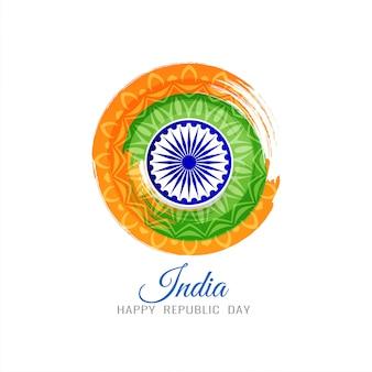Fundo circular de tema tricolor de bandeira indiana