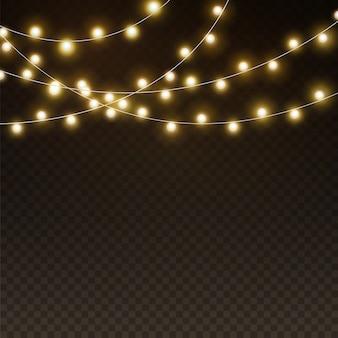 Fundo claro de guirlandas. luzes de natal realistas, lâmpadas de néon led brilhantes. banners, pôsteres ou modelo de textura de iluminação de feriado