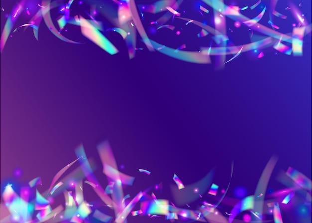 Fundo claro. decoração colorida brilhante. arte voadora. design de metal. holographic tinsel. textura azul do laser. caleidoscópio glitter. glitter foil. fundo de luz violeta