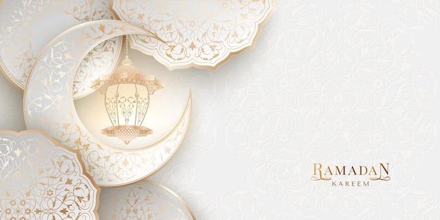 Fundo claro ramadan kareem com arabescos ornamentais