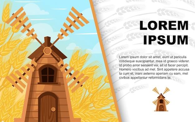 Fundo clássico de madeira do moinho de vento e do trigo.
