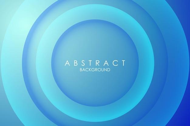 Fundo colorido 3d azul. composição de cor lisa recortada em papel círculo abstrato