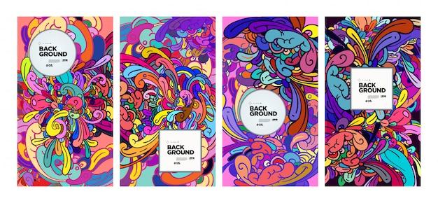 Fundo colorido abstrato doodle