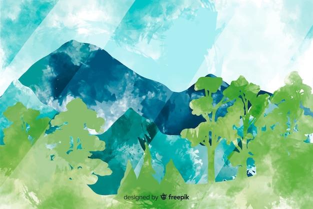 Fundo colorido abstrato paisagem aquarela