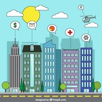 Fundo colorido cidade inteligente