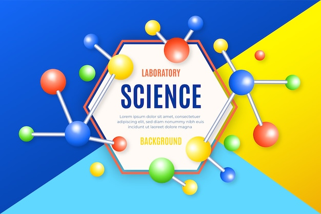 Fundo colorido ciência realista com moléculas