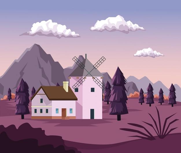 Fundo colorido com amanhecer paisagem de montanhas de campo e casa com moinho de vento