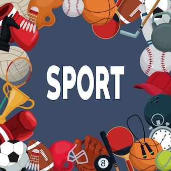Fundo colorido com borda de elementos esporte