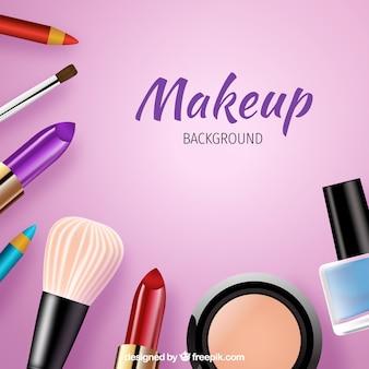Fundo colorido com cosméticos realistas