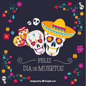Fundo colorido com crânios mexicanos