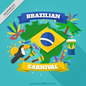 Fundo colorido, com elementos de carnaval brasileiro