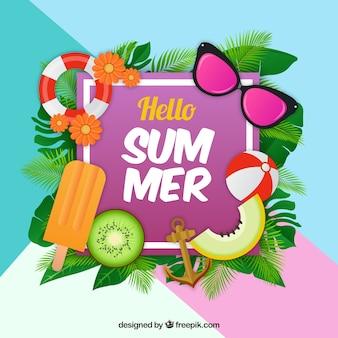 Fundo colorido com elementos de verão