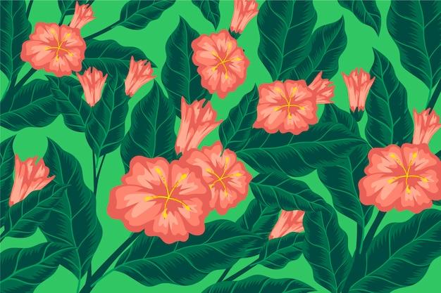 Fundo colorido com flores cor de rosa e folhas