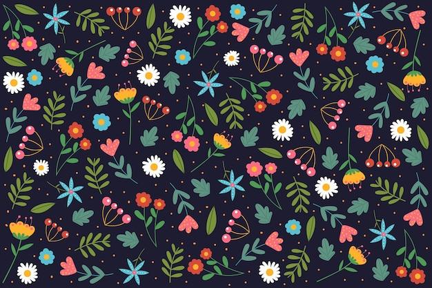 Fundo colorido com impressão floral servindo
