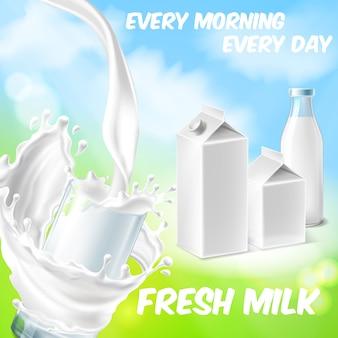 Fundo colorido com leite fresco, derramando em copo e salpicos