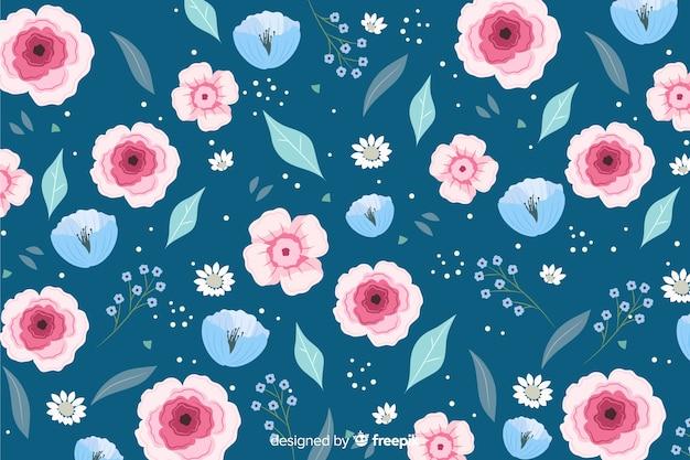 Fundo colorido com lindas flores e design floral