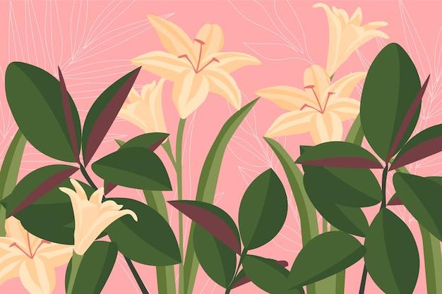 Fundo colorido com lírios brancos e folhas