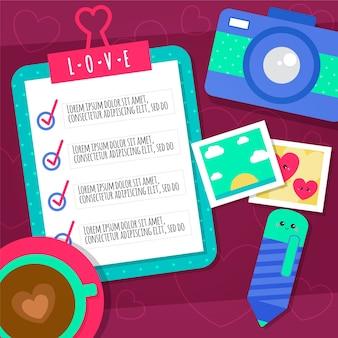 Fundo colorido com lista de verificação, copo de café e câmera