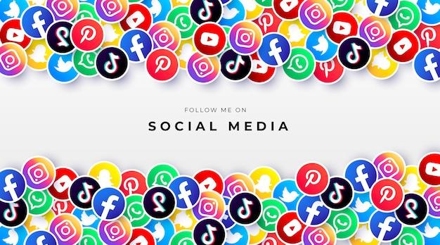 Fundo colorido com logotipos de mídia social