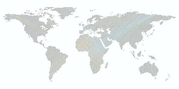 Fundo colorido com mapa-múndi pontilhada