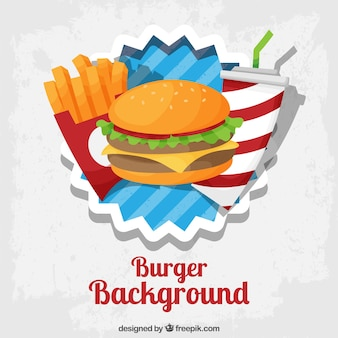 Fundo colorido com menu do fast food