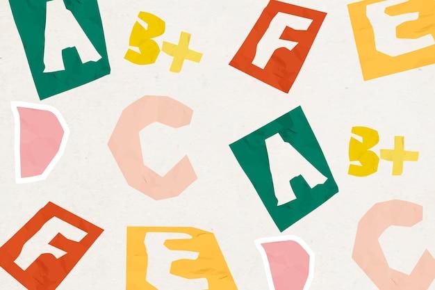 Fundo colorido com padrão de alfabeto abc para crianças
