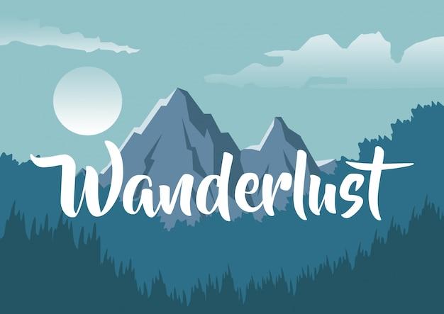 Fundo colorido com paisagem noturna de montanha e floresta com texto wanderlust