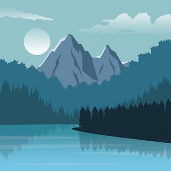 Fundo colorido com paisagem noturna de montanha e rio