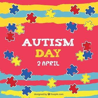 Fundo colorido com peças do puzzle coloridas para o dia autismo