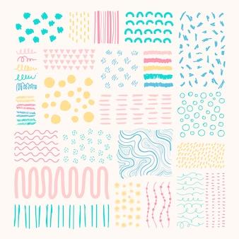 Fundo colorido com pequenas formas geométricas desenhadas à mão