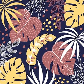 Fundo colorido com plantas tropicais
